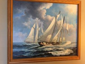 Beautiful Oak framed ship painting artist unknown