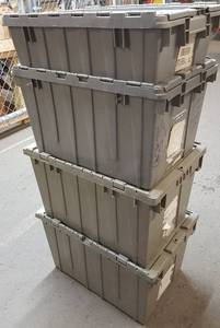 Bidding on 4 any size of these HD industrial stack-able plastic totes.