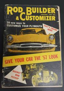 "January 1957 Rod Builder and Customizer 5X8"" hot rod car magazine"