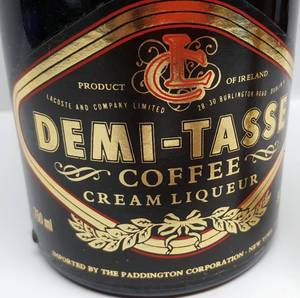 Beautiful bottle of Demi-Tasse coffee cream liqueur