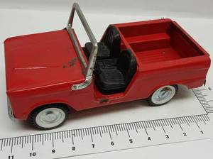 Little Red Ford Bronco open air truck