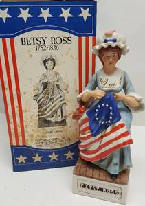 From the Great Americans collection is this Betsy Ross collector straight bourbon whiskey decanter