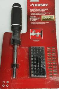 New and complete is this Husky 51 piece ratcheting screwdriver