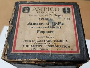 This auction lot is for the Ampico Player Piano roll in the box shown