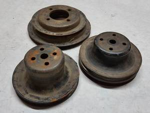 Set of 3 V-belt front pulleys