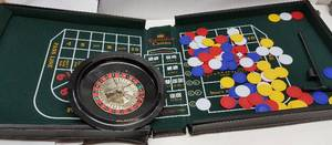 Las Vegas at home with this game board roulette wheel (spins great)