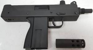 Real Deal Mac11 9MM with 30 round clip, case and ammunition shown