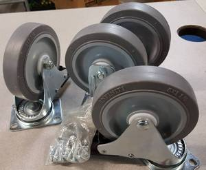 New and complete set of 4 HD 5 inch OD X 1-1/4 inch wide casters