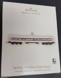 Hallmark Keepsake Christmas ornament  the Lionel Freedom Train Sleeper